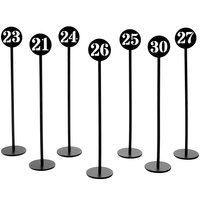 American Metalcraft NSB30 Black Stamped Out Number Table Stand Set - Numbers 21-30
