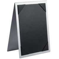 Menu Solutions MTDBL-58 Alumitique Two View Brushed Aluminum Menu Tent with Picture Corners - 5 1/2 inch x 8 1/2 inch