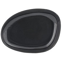 Front of the House DSP032BKP23 Kiln 8 inch x 6 inch Pepper Porcelain Oval Plate - 12/Case
