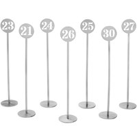 American Metalcraft NSC30 Silver Stamped Out Number Table Stand Set - Numbers 21-30