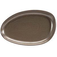Front of the House SPT056ESP20 Kiln 14 inch x 9 inch Mocha Porcelain Oval Plate - 2/Pack