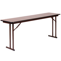 Correll ST1896PX01 18 inch x 96 inch Walnut 3/4 inch High-Pressure Folding Seminar Table
