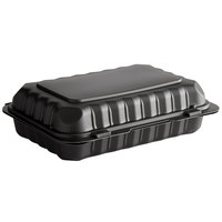 9 inch x 6 inch 1-Compartment Microwaveable Black Mineral-Filled Plastic Hinged Take-Out Container - 150/Case