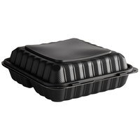9 inch x 9 inch 3-Compartment Microwaveable Black Mineral-Filled Plastic Hinged Take-Out Container - 150/Case