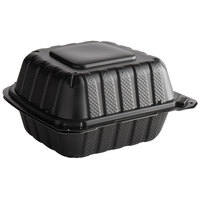 6 inch x 6 inch 1-Compartment Microwaveable Black Mineral-Filled Plastic Hinged Take-Out Container - 250/Case