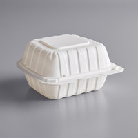 6 inch x 6 inch 1-Compartment Microwaveable White Mineral-Filled Plastic Hinged Take-Out Container - 250/Case