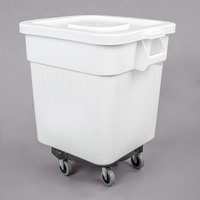 Baker's Mark 32 Gallon / 510 Cup White Flat Top Mobile Ingredient Storage Bin with Snap on Lid