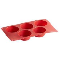 Red Silicone 5 Compartment 4.57 oz. Muffin Mold