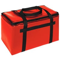 Sterno Customizable Red Space Saver Delivery 3XL Insulated Food Carrier, 22 inch x 13 inch x 14 inch - Holds (8) 9 inch x 9 inch x 3 inch Meal Containers