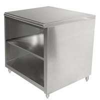 Advance Tabco EB-SS-363M 36 inch x 36 inch 14 Gauge Open Front Cabinet Base Work Table with Fixed Mid Shelf