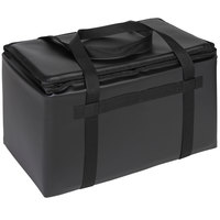 Sterno Customizable Black Space Saver Delivery 3XL Insulated Food Carrier, 22 inch x 13 inch x 14 inch - Holds (8) 9 inch x 9 inch x 3 inch Meal Containers