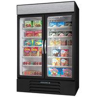 Beverage-Air MMF44HC-1-BS MarketMax 47 inch Black Glass Door Merchandising Freezer with Stainless Steel Interior