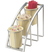 Cal-Mil 1746-3-39 Mission Silver Steel Three Tier Upright Cylinder Display - 7 inch x 13 inch x 10 3/4 inch