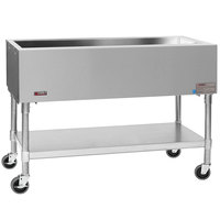 Eagle Group PCP-3 48 inch Mobile Ice-Cooled Cold Food Table with Galvanized Undershelf and Open Base