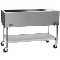 Eagle Group SPCP-3 48 inch Mobile Ice-Cooled Cold Food Table with Stainless Steel Undershelf and Open Base