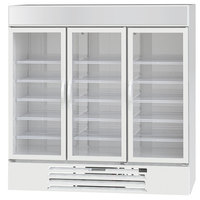 Beverage-Air MMF72HC-5-WS MarketMax 75 inch White Glass Door Merchandising Freezer with Stainless Steel Interior
