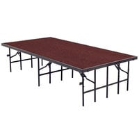 National Public Seating S3632C Single Height Portable Stage with Red Carpet - 36 inch x 96 inch x 32 inch
