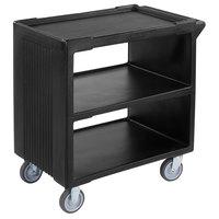 Carlisle SBC23003 3 Shelf Black Bus / Utility Cart - 500 lb. Capacity