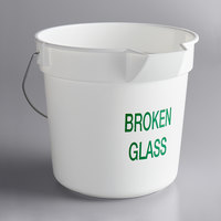 Continental 8110WHGM Huskee 10 Qt. White Round Utility Bucket with Broken Glass Stamp