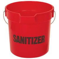 Continental 8110RDGM Huskee 10 Qt. Red Round Utility Bucket with Sanitizer Stamp