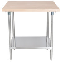 Advance Tabco H2S-303 Wood Top Work Table with Stainless Steel Base and Undershelf - 30 inch x 36 inch