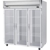 Beverage-Air HR3HC-1G Horizon Series 78 inch Top Mounted Glass Door Reach-In Refrigerator