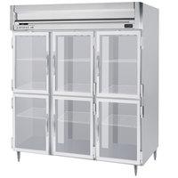 Beverage-Air HRPS3HC-1HG Horizon Series 78 inch Stainless Steel Glass Half Door Reach-In Refrigerator