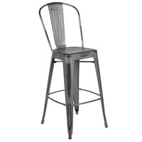 Flash Furniture ET-3534-30-SIL-GG 30 inch Distressed Silver Metal Bar Height Stool with Vertical Slat Back and Drain Hole Seat
