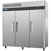 Turbo Air M3F72-3 78 inch M3 Series Three Section Solid Door Reach in Freezer - 72 cu. ft.