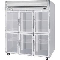Beverage-Air HRS3HC-1HG Horizon Series 78 inch Glass Half Door Reach-In Refrigerator