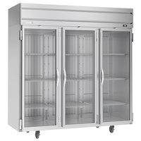 Beverage-Air HFPS3HC-1G Horizon Series 78 inch Stainless Steel Glass Door Reach-In Freezer