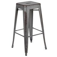 Flash Furniture ET-BT3503-30-SIL-GG 30 inch Distressed Silver Stackable Metal Bar Height Stool with Drain Hole Seat