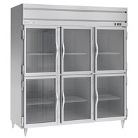 Beverage-Air HFPS3HC-1HG Horizon Series 78 inch Stainless Steel Glass Half Door Reach-In Freezer
