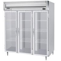 Beverage-Air HRPS3HC-1G Horizon Series 78 inch Stainless Steel Glass Door Reach-In Refrigerator