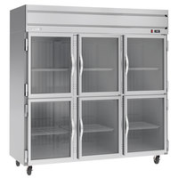 Beverage-Air HFP3HC-1HG Horizon Series 78 inch Glass Half Door Reach-In Freezer