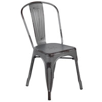 Flash Furniture ET-3534-SIL-GG Distressed Silver Stackable Metal Chair with Vertical Slat Back and Drain Hole Seat