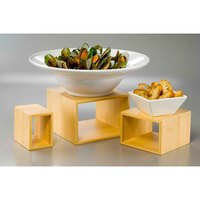 American Metalcraft BAMRN1 3 Piece Natural Bamboo Riser Set