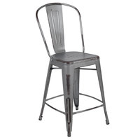 Flash Furniture ET-3534-24-SIL-GG 24 inch Distressed Silver Metal Counter Height Stool with Vertical Slat Back and Drain Hole Seat