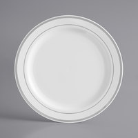 Silver Visions 7 inch White Plastic Plate with Silver Bands - 150/Case