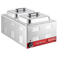 Avantco W50 12 inch x 20 inch Full Size Electric Countertop Food Warmer / Chicken Wing Warmer with (2) 1/2 Size Hotel Pans and Covers - 120V, 1200W