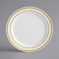 Gold Visions 6 inch White Plastic Plate with Gold Bands - 150/Case