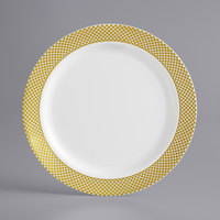 Gold Visions 7 inch Bone / Ivory Plastic Plate with Gold Lattice Design - 150/Case
