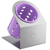Steril-Sil Cantilever 1-Cylinder Stainless Steel Flatware Organizer with Violet Perforated Plastic Cylinder