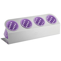 Steril-Sil Cantilever 4-Cylinder Stainless Steel Flatware Organizer with Violet Perforated Plastic Cylinders