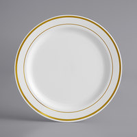 Gold Visions 7 inch White Plastic Plate with Gold Bands - 150/Case