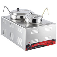 Avantco W50CKR 12 inch x 20 inch Full Size Electric Countertop Food Cooker / Warmer / Soup Station with 4 Qt. and 11 Qt. Inset Pots - 120V, 1500