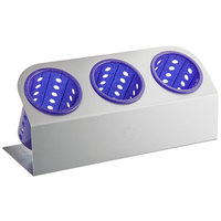 Steril-Sil Cantilever 3-Cylinder Stainless Steel Flatware Organizer with Purple Perforated Plastic Cylinders