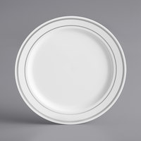 Silver Visions 6 inch White Plastic Plate with Silver Bands - 150/Case
