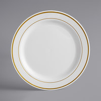 Gold Visions 9 inch Bone / Ivory Plastic Plate with Gold Bands - 120/Case