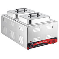 Avantco W50CKR 12 inch x 20 inch Full Size Electric Countertop Food Cooker / Warmer / Chicken Wing Warmer with (2) 1/2 Size Hotel Pans and Covers - 120V, 1500W